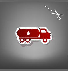Car transports oil sign red icon with for vector