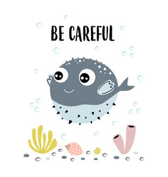 Card with fugu fish isolated on white be careful vector