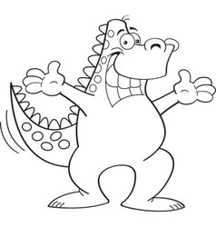 Cartoon dinosaur with arms extended vector image