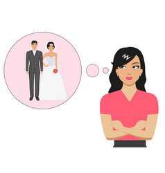 cartoon girl dreaming about a wedding vector image