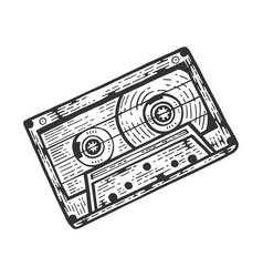cassette tape sketch engraving vector image