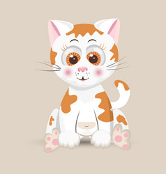cat cute furry red fluffy kitten funny happy vector image