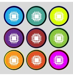 Central Processing Unit Icon Technology scheme vector image