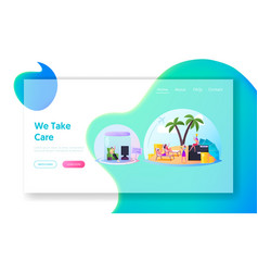 Characters inside comfort zone landing page vector
