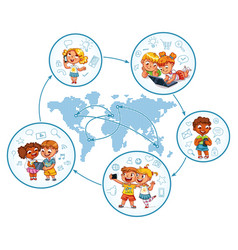 Children interact on social networks vector