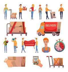 Courier delivery orthogonal icons set vector
