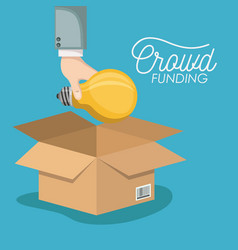 Crowd funding poster with hand depositing bulb in vector