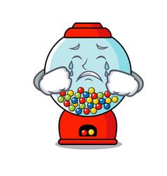 crying gumball machine mascot cartoon vector image