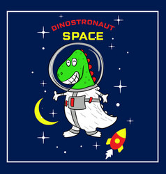 Cute dino astronaut cartoon in space vector