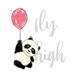 Cute panda with pink ballon vector