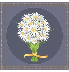Daisy flower bouquet on the greeting card vector image