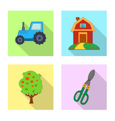 Design of farm and agriculture icon set of vector