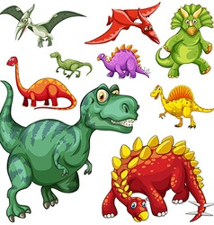 different kind dinosaurs vector image