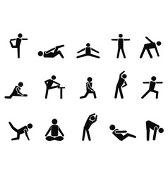 exercise stretching icons vector image
