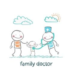 Family doctor treats the father and his child vector