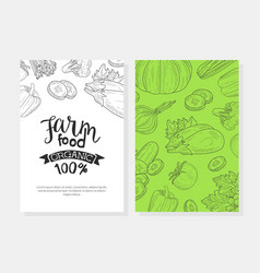 farm food card template with natural organic vector image