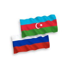 Flags azerbaijan and russia on a white vector