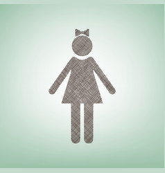 Girl sign brown flax icon on vector