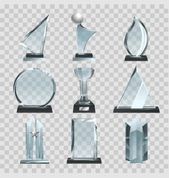 glossy transparent trophies awards and winner vector image
