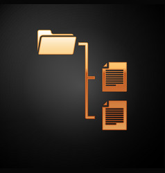 Gold folder tree icon isolated on black vector