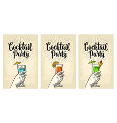 Green blue and red cocktail with slice pineapple vector
