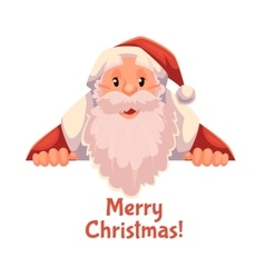 Greeting card with cartoon Santa Claus holding a vector image