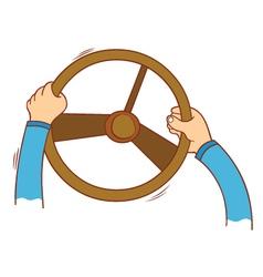 Hand holding steering wheel vector