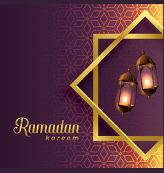 Hanging lamps inside islamic shape for ramadan vector