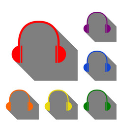 headphones sign set of red orange vector image