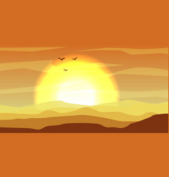 Hot yellow and orange desert panoramic landscape vector