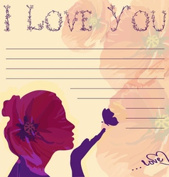 I love you card with silhouettes of girl vector