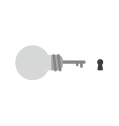 icon concept of grey light bulb key with keyhole vector image