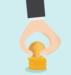 Image of Hand put coins to stack of coins vector
