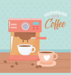 International day coffee machine and cups vector