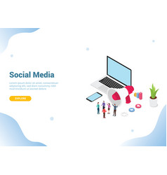 isometric social media marketing concept business vector image