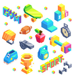 isometric sport icon set vector image