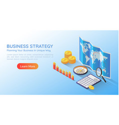 isometric web banner business planning strategy vector image