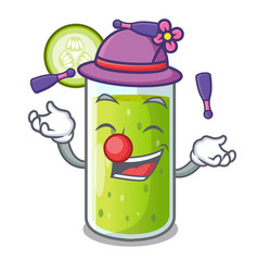 juggling sweet cucumber juice isolated on mascot vector image