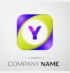 Letter y logo symbol in the colorful square on vector
