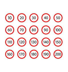 Limit speed sign for car set road sign vector