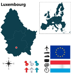 Luxembourg and european union map vector