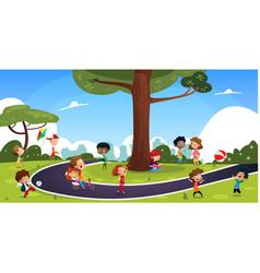 Many cartoon children play in summer park vector