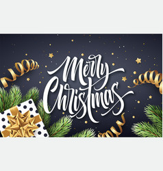 Merry christmas hand drawn lettering greeting card vector