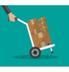Metallic hand truck with boxes vector