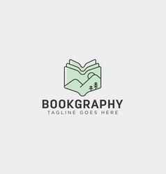 mountain book geography education logo template vector image