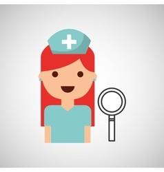 Nurse cartoon search icon design vector