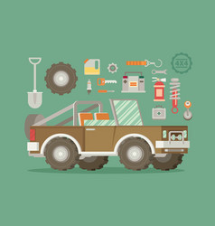 off road car with icons isolated on color vector image