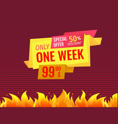 Only one week special offer sale label final price vector