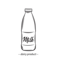 outline bootle milk vector image