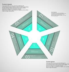Pentagon consist of three green ribbons vector